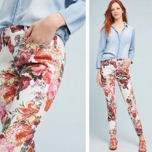 Pilcro & the Letterpress Pink Floral Skinny Jeans